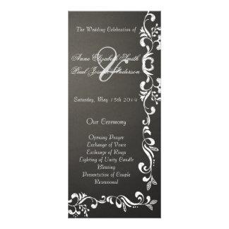 Programas do casamento tema damasco do quadro panfleto personalizado