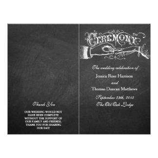 Programas elegantes da cerimónia de casamento do panfletos personalizados