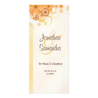 Programas magros florais do casamento do ouro e do 10.16 x 22.86cm panfleto