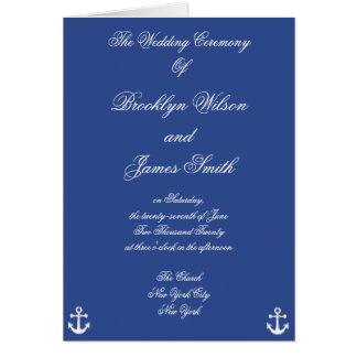 Programas náuticos azuis da cerimónia de casamento cartão