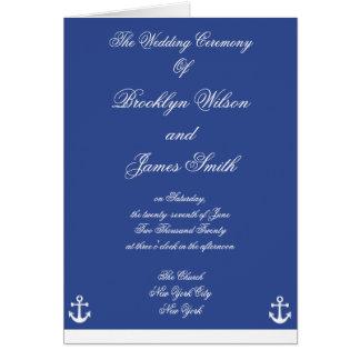 Programas náuticos azuis da cerimónia de casamento cartao