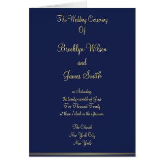Programas náuticos azuis da cerimónia de casamento cartoes