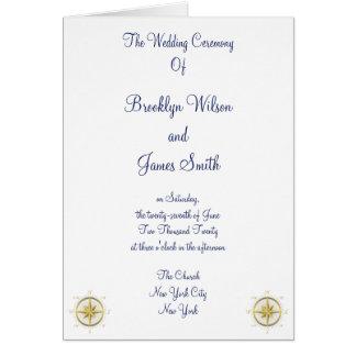 Programas náuticos brancos da cerimónia de cartão comemorativo