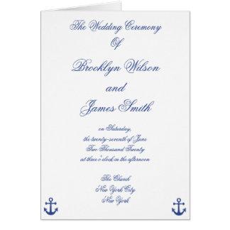 Programas náuticos da cerimónia de casamento cartões