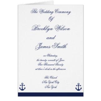 Programas náuticos da cerimónia de casamento dos cartão comemorativo