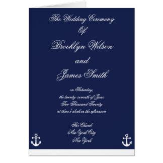 Programas náuticos da cerimónia de casamento dos cartoes