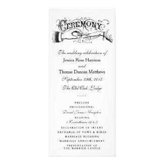 Programas preto e branco elegantes da cerimónia de 10.16 x 22.86cm panfleto