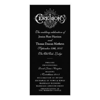 Programas preto e branco elegantes da cerimónia de panfletos informativos personalizados