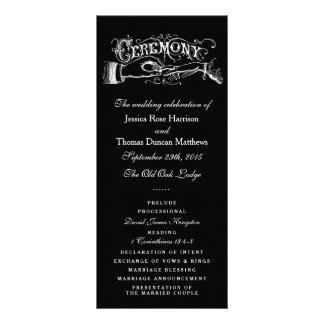 Programas preto e branco elegantes da cerimónia de panfletos informativos
