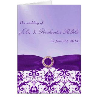 Programas roxos da cerimónia e da recepção cartão comemorativo