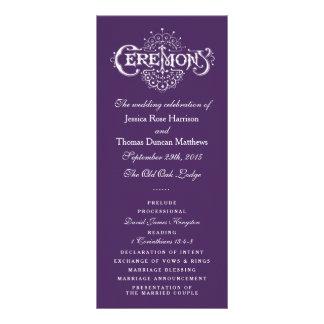 Programas roxos e brancos elegantes da cerimónia 10.16 x 22.86cm panfleto
