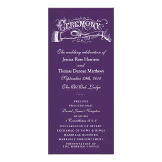 Programas roxos e brancos elegantes da cerimónia modelo de panfleto informativo