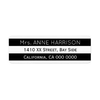 projete um preto & um branco listrados etiqueta endereço de retorno