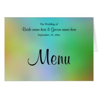 Projeto colorido bonito do menu do casamento cartão de nota