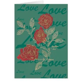 Projeto do ~love das rosas vermelhas da mancha de cartão comemorativo