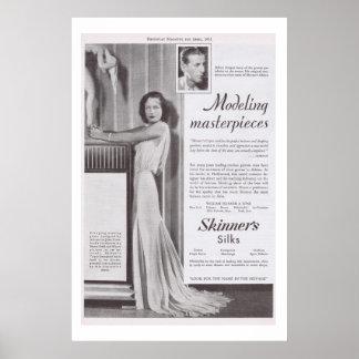 Propaganda da seda do vestido de Joana Crawford Ad Posters