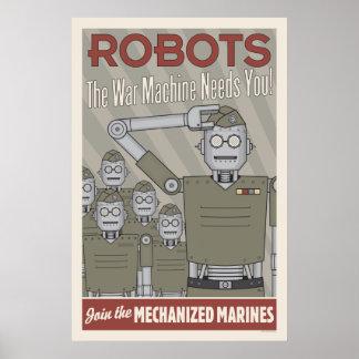 Propaganda das forças armadas do robô do estilo do poster