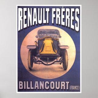Propaganda do vintage do carro de Renault Posteres