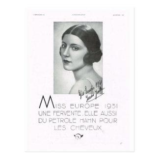 Propaganda, senhorita Europa 1931 Cartões Postais