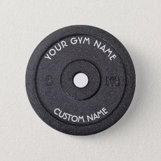 Proprietário ou usuário do Gym com o texto curvado Bóton Redondo 5.08cm