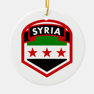 Protetor da crista da bandeira de Syria Ornamento De Cerâmica Redondo
