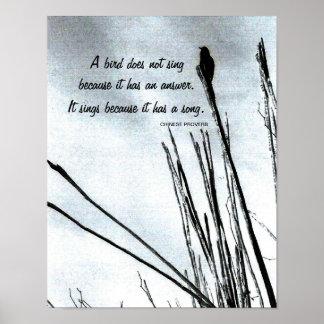 Provérbio chinês inspirado pôster