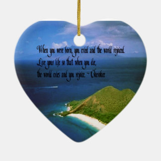 Provérbio do indiano do nativo americano ornamento de cerâmica coração