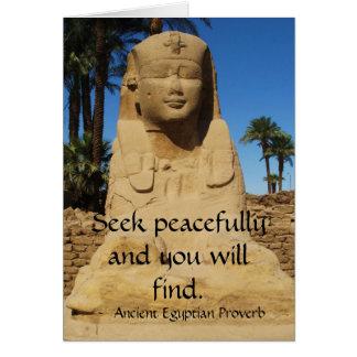 Provérbio egípcio sobre a PAZ Cartão