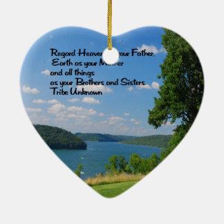 Provérbio indiano americano antigo ornamento de cerâmica coração