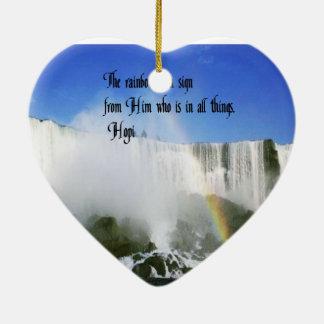 Provérbio indiano americano ornamento de cerâmica coração