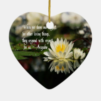 Provérbio indiano americano, respeito ornamento de cerâmica coração