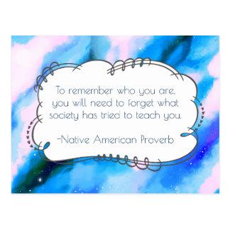 Provérbio sábio inspirado do provérbio do nativo cartão postal