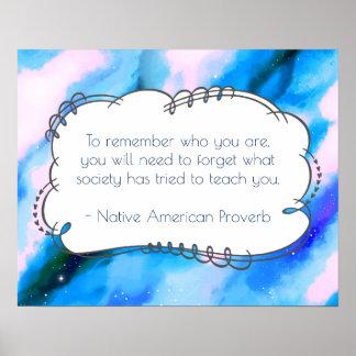 Provérbio sábio inspirado do provérbio do nativo póster