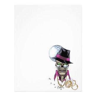 Proxeneta do crânio com chapéu, vidros, corrente d panfleto