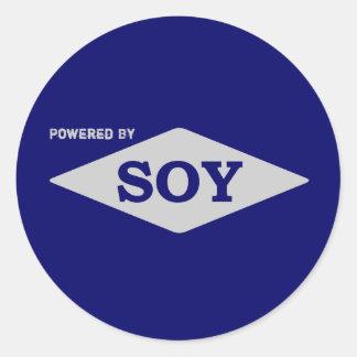Psto pela etiqueta da soja adesivos em formato redondos