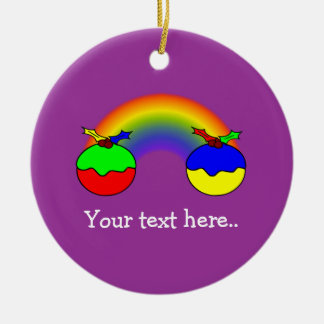 Pudins e arco-íris roxos do Natal Ornamento De Cerâmica