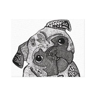 Pug do Doodle, nenhumas citações Impressão Em Tela