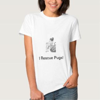 Pug em preto & no branco tshirts