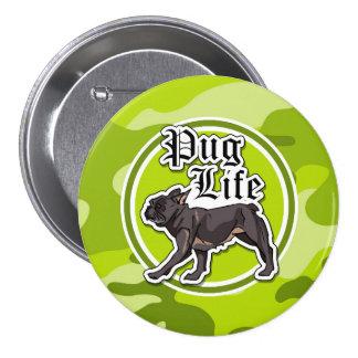 Pug engraçado camo verde-claro camuflagem botons
