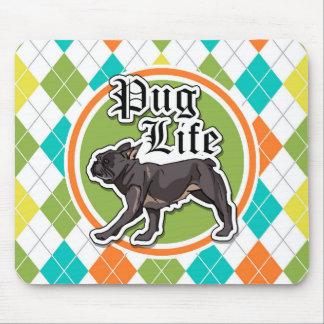 Pug engraçado; Teste padrão colorido de Argyle Mouse Pad