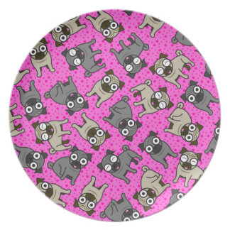 Pug-um-Ponto (rosa) Pratos