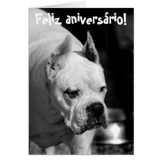 Pugilista branco Birthdaycard de Feliz Aniversário Cartão