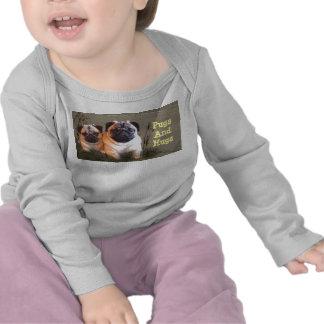 Pugs e t-shirt longo infantil da luva dos abraços