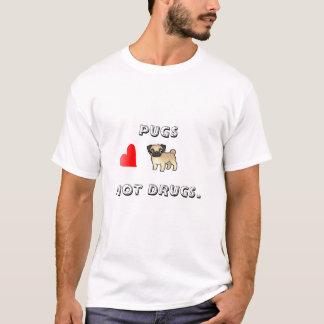 Pugs nenhum tshirt. das drogas camiseta