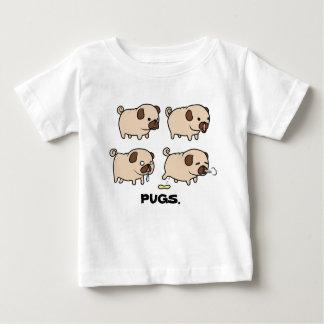 PUGS. T-shirt fino do jérsei do bebê