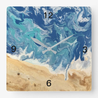 Pulso de disparo da arte abstracta da praia relógio quadrado