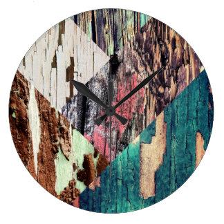 Pulso de disparo de madeira da colagem da textura relógio grande