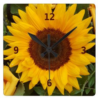 Pulso de disparo floral da fotografia da flor do relógio quadrado