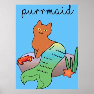 Purrmaid, gato engraçado do oceano póster