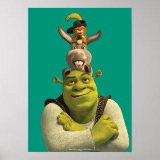 Puss nas botas, asno, e Shrek Pôster